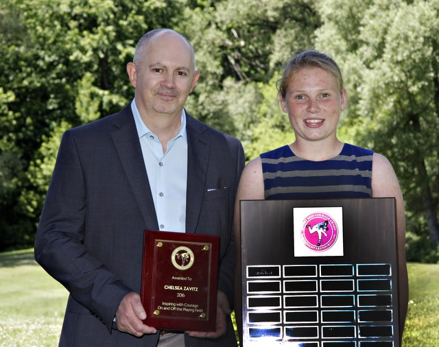 2016 Jeffrey Reed Courage Award winner Chelsea Zavitz with Jeffrey Reed